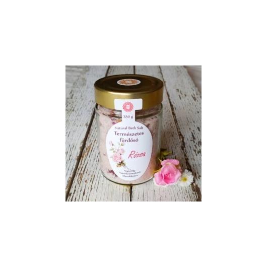 Napvirág parajdi fürdősó organikus rózsa-geránium illóolajjal és rózsaszirmokkal 350g