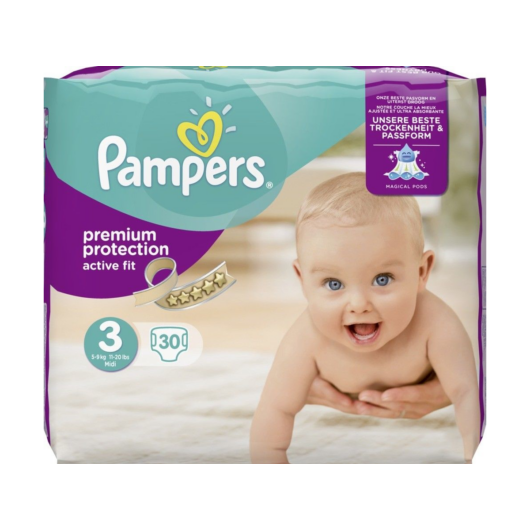 Pampers Premium Protection Active Fit Pelenka 30db-os 5-9kg Midi