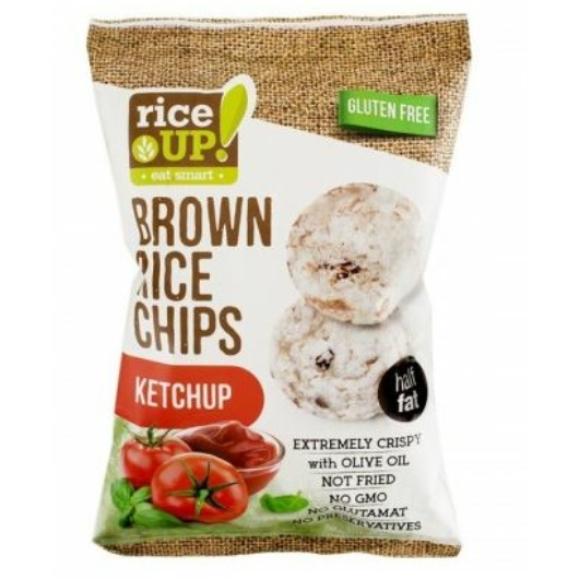 Rice Up Telj.kiőrl.barna rizs chips 60g ketchup ízű (GLM), 2db