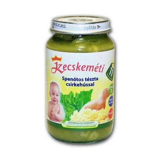 Kk bébiétel 11hó spenótos tészta+csirke 220g, 2db